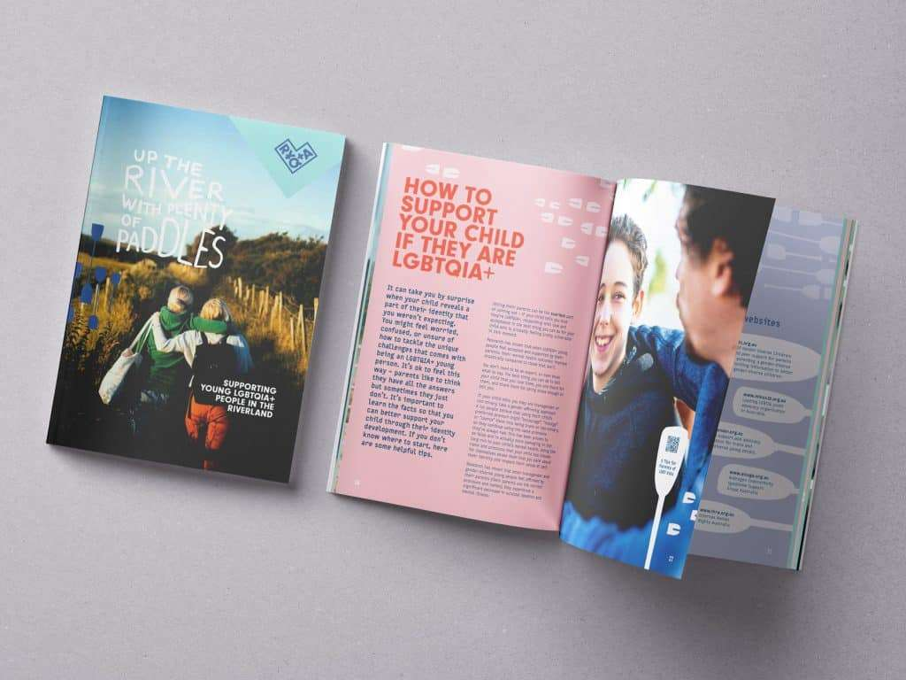 How to support your child if they are LGBTQIA+ spread in booklet for Riverland Young Queers and Allies, Headspace Berri by Flux Visual Communication