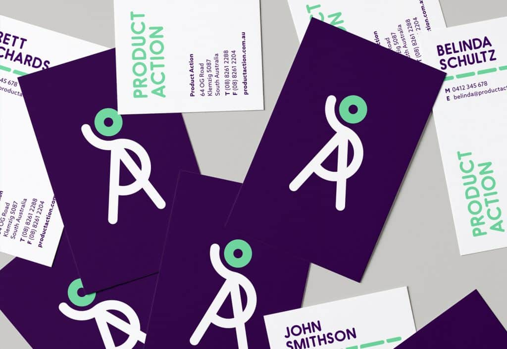 Product Action identity refresh business card design by Flux Visual Communication, Adelaide