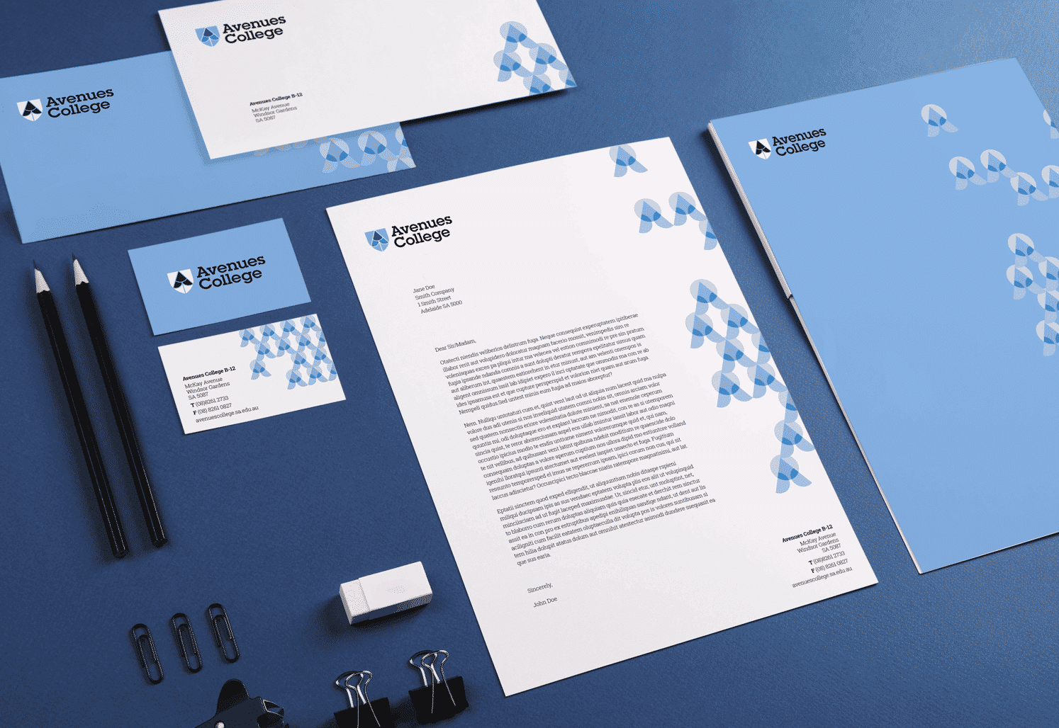Avenues College identity on stationery by Flux Visual Communication