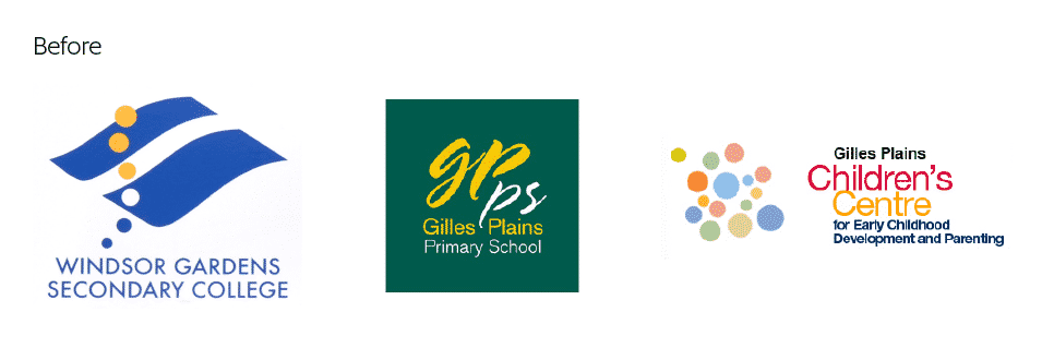 Old Windsor Gardens and Gilles Plains school logos