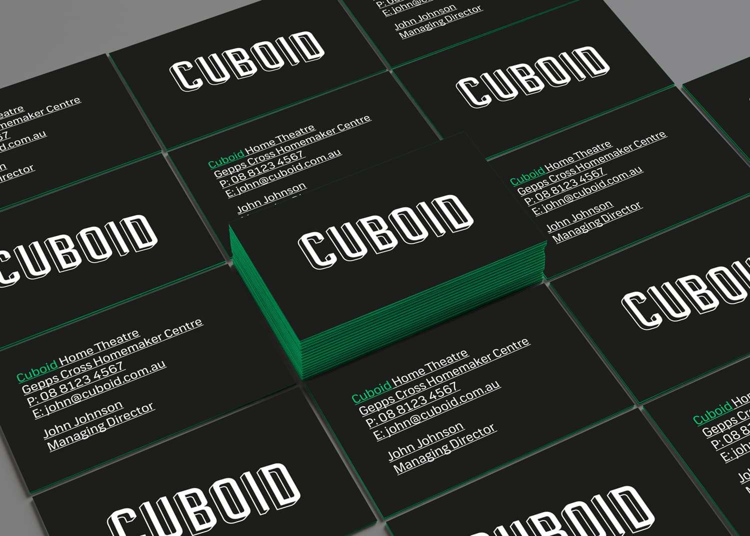 Business cards with edge colouring for Cuboid by Flux Visual Communication