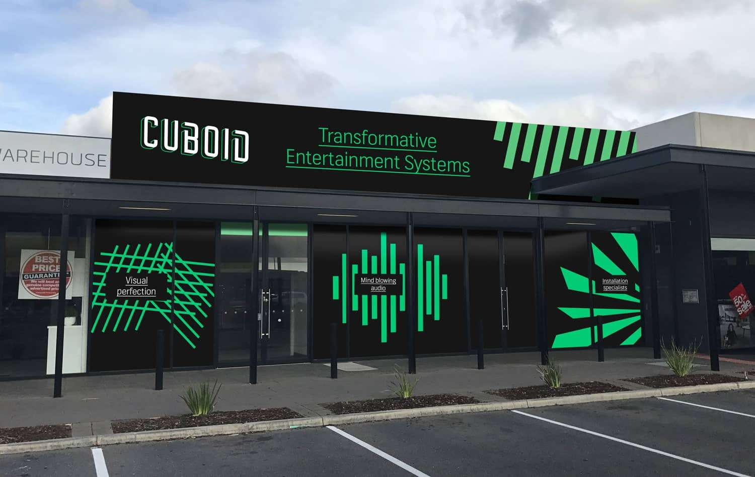 Cuboid storefront signage by Flux Visual Communication