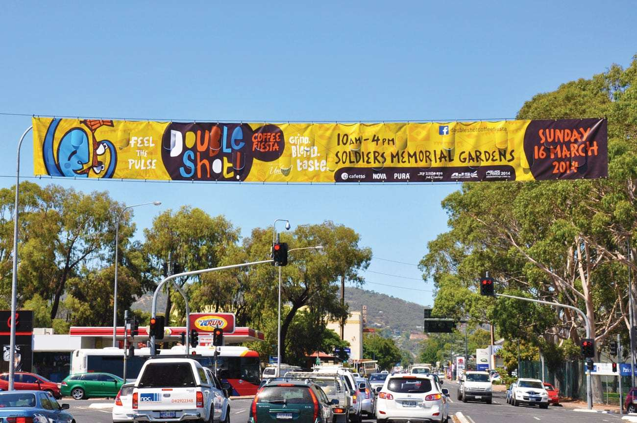 Double Shot Unley Coffee Fiesta street banner by Flux Visual Communication