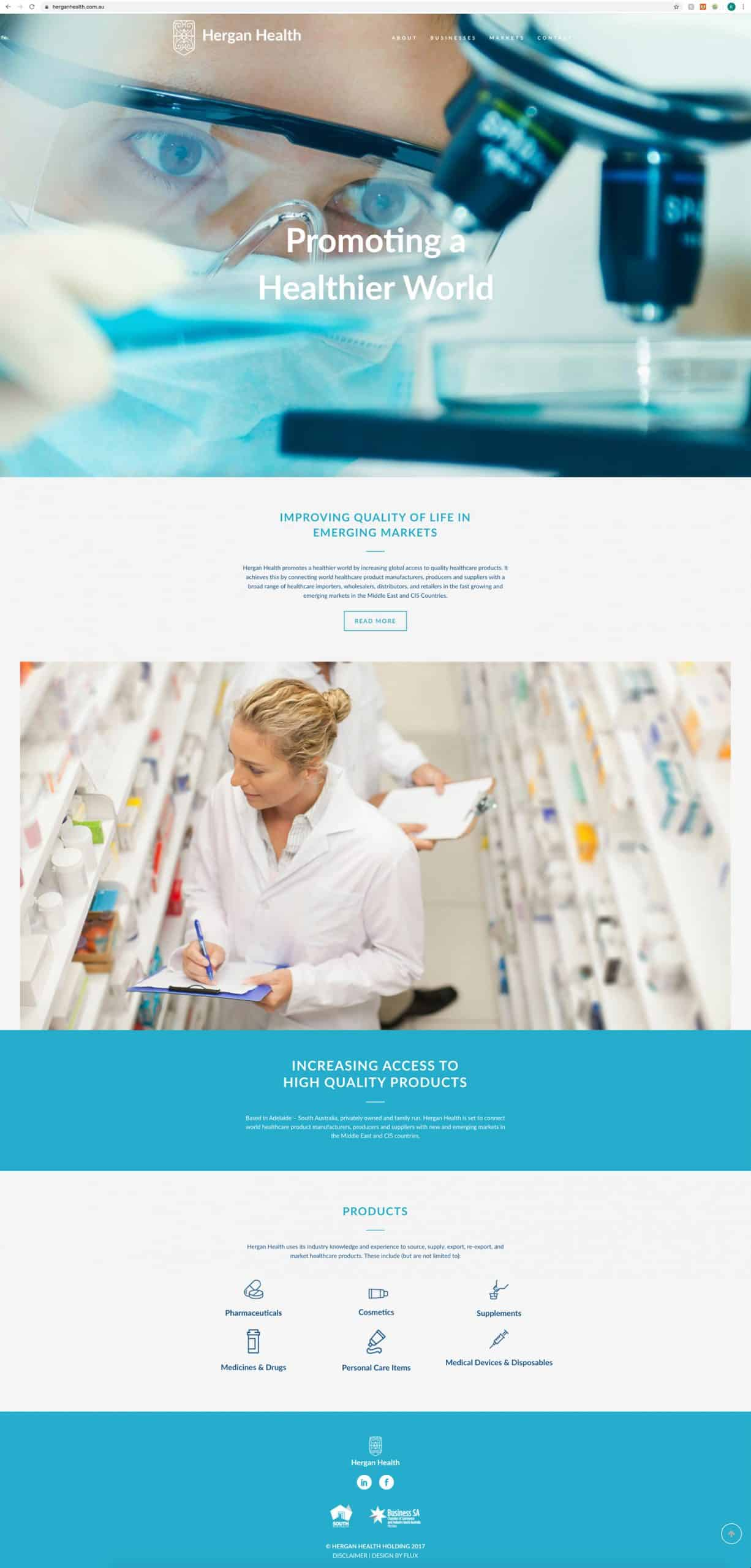 Wordpress website for Hergan Health by Flux Visual Communication
