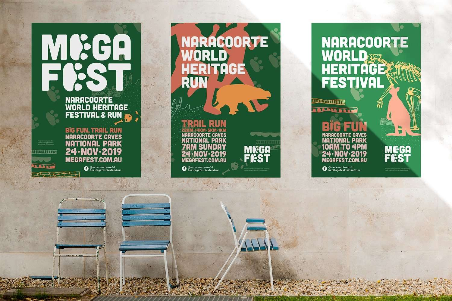 Mega Fest Naracoorte World Heritage Festival and Run poster design by Flux Visual Communication