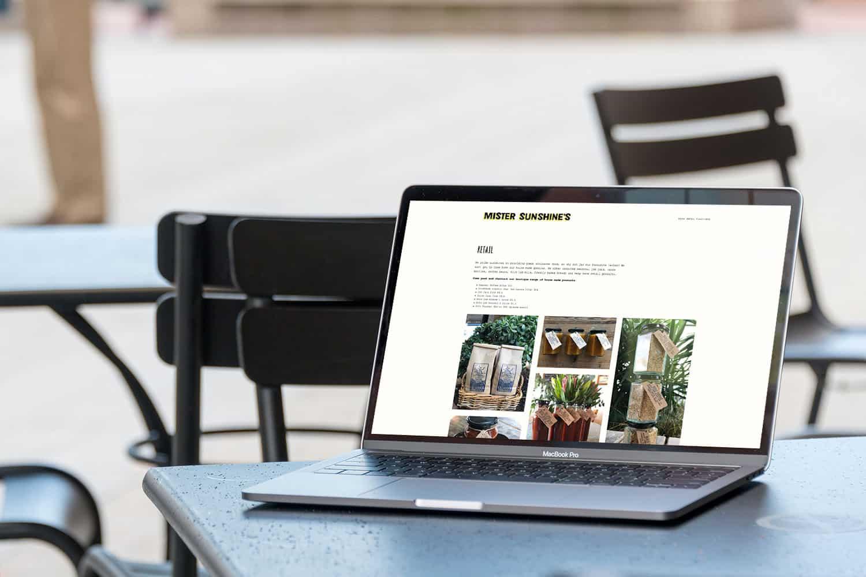Retail website design for Mr Sunshines Cafe by Flux Visual Communication