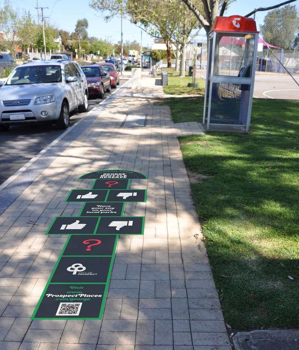 Prospect Places footpath signage for community engagement by Flux Visual Communication