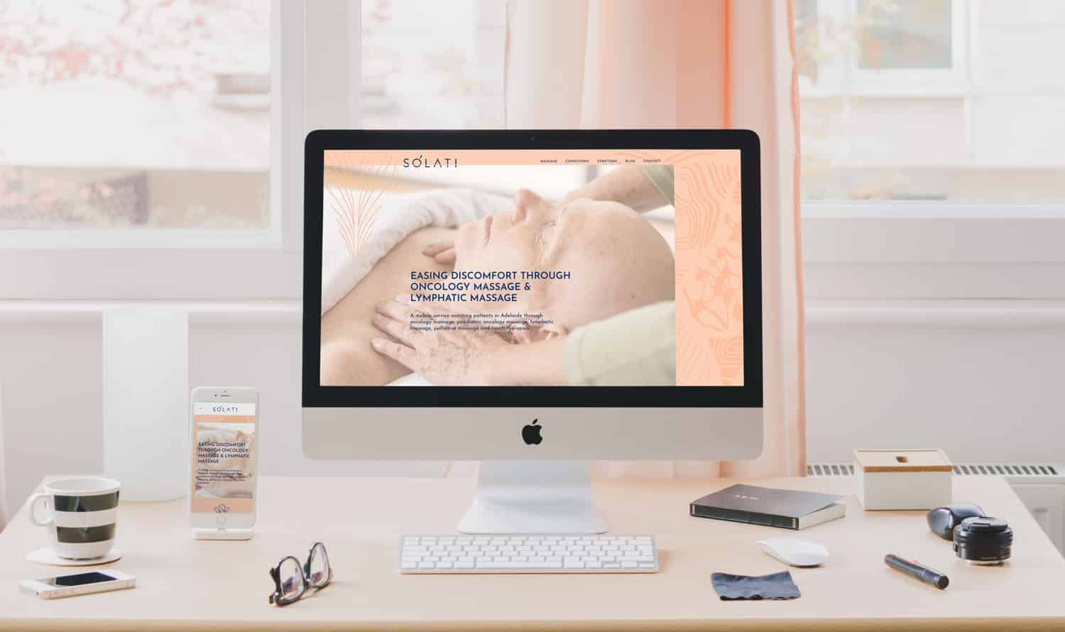 Wordpress website design for Solati massage services by Flux Visual Communication, Adelaide