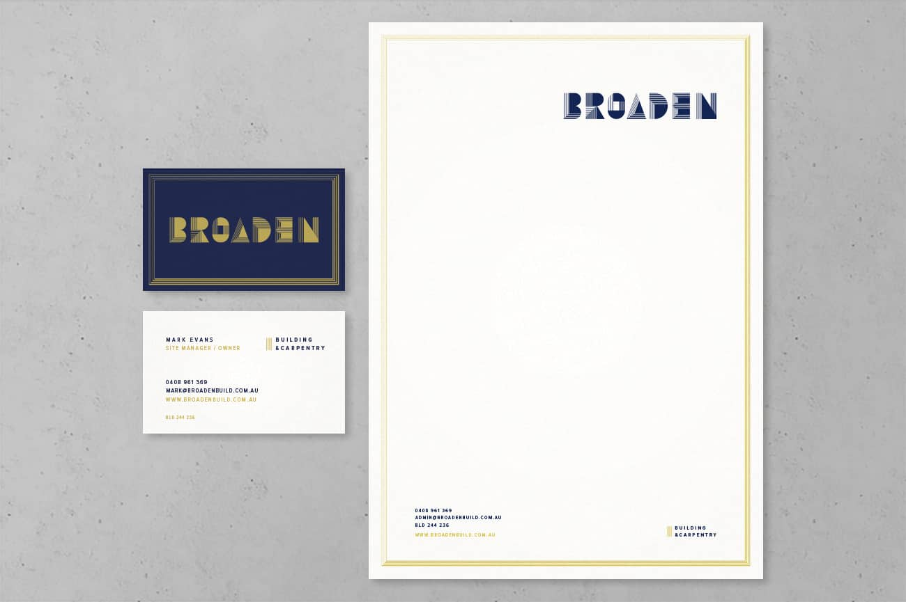 Corporate stationery for Adelaide Home Builder Broaden by Flux Visual Communication