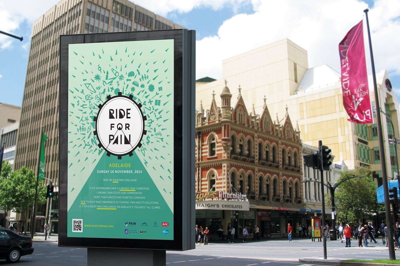 Ride for Pain street billboard design by Flux Visual Communication, Adelaide