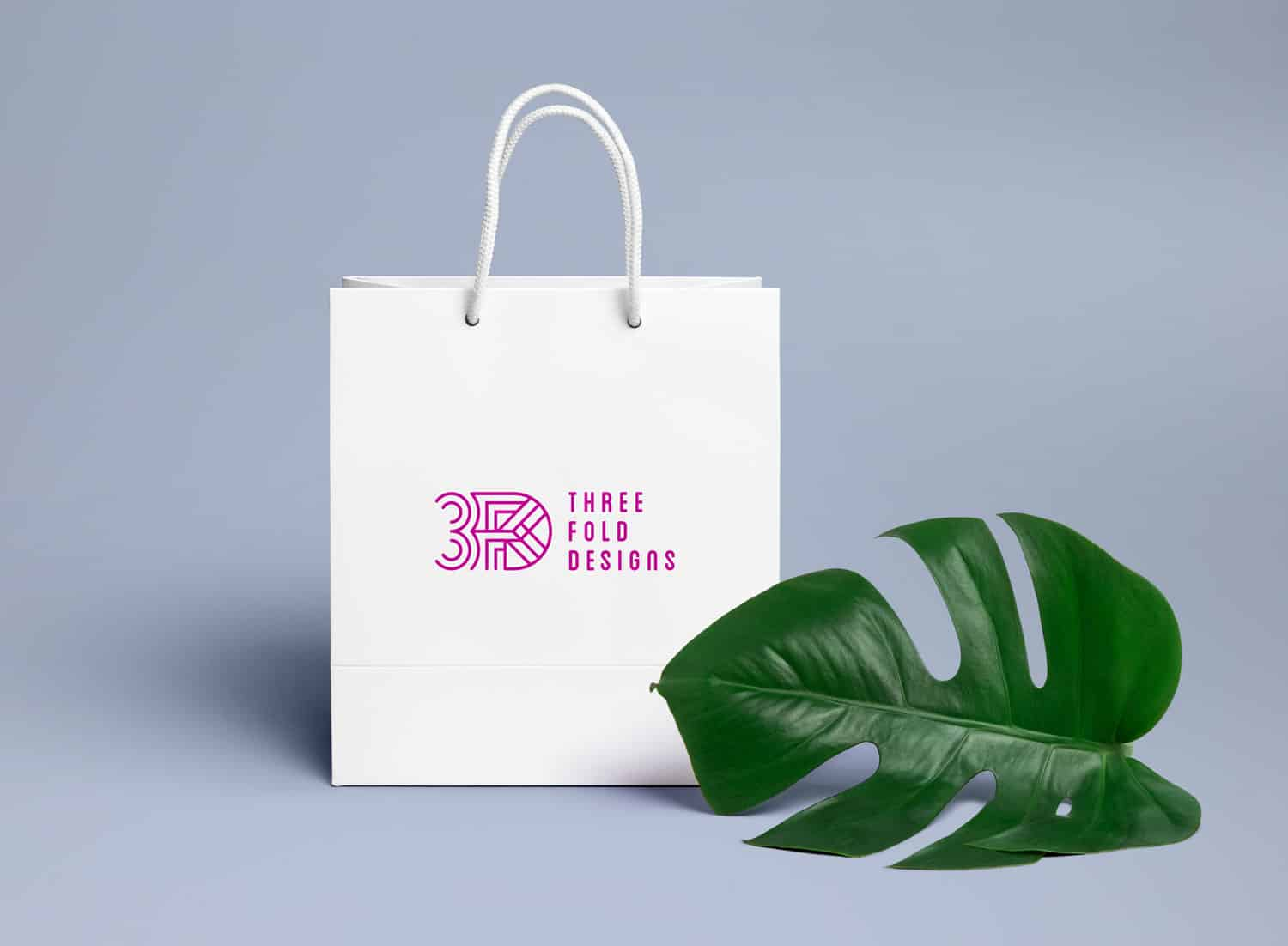Threefold Designs retail shopping bag design by Flux Visual Communication