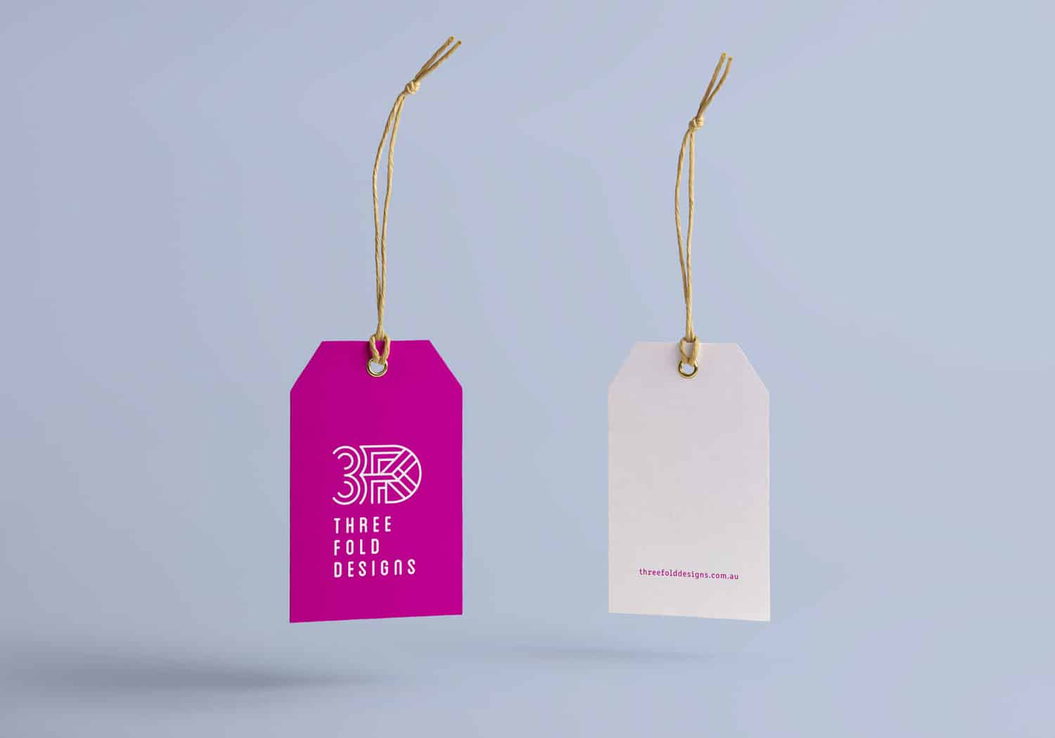 Swing tag design for Threefold Designs by Flux Visual Communication
