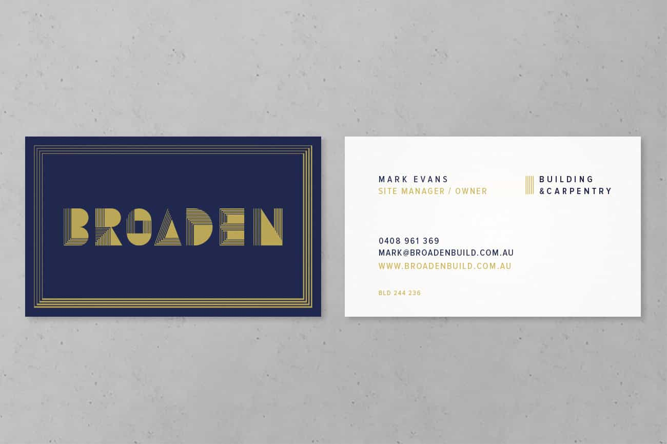 Business card design for Adelaide Home Builder Broaden by Flux Visual Communication