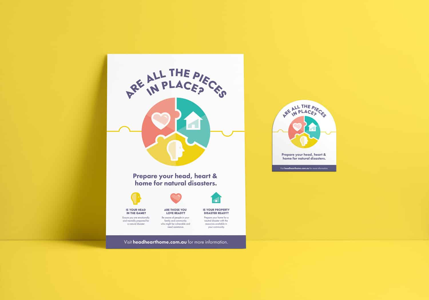 Head Heart Home disaster awareness campaign poster and magnet for Central Queensland University by Flux Visual Communication