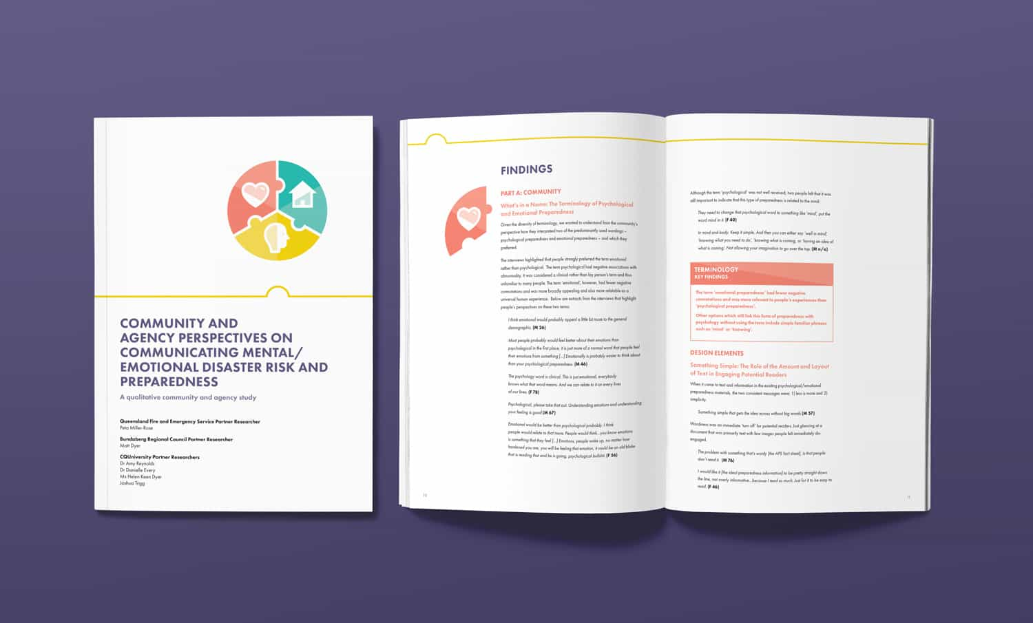 Head Heart Home disaster awareness campaign report for Central Queensland University by Flux Visual Communication