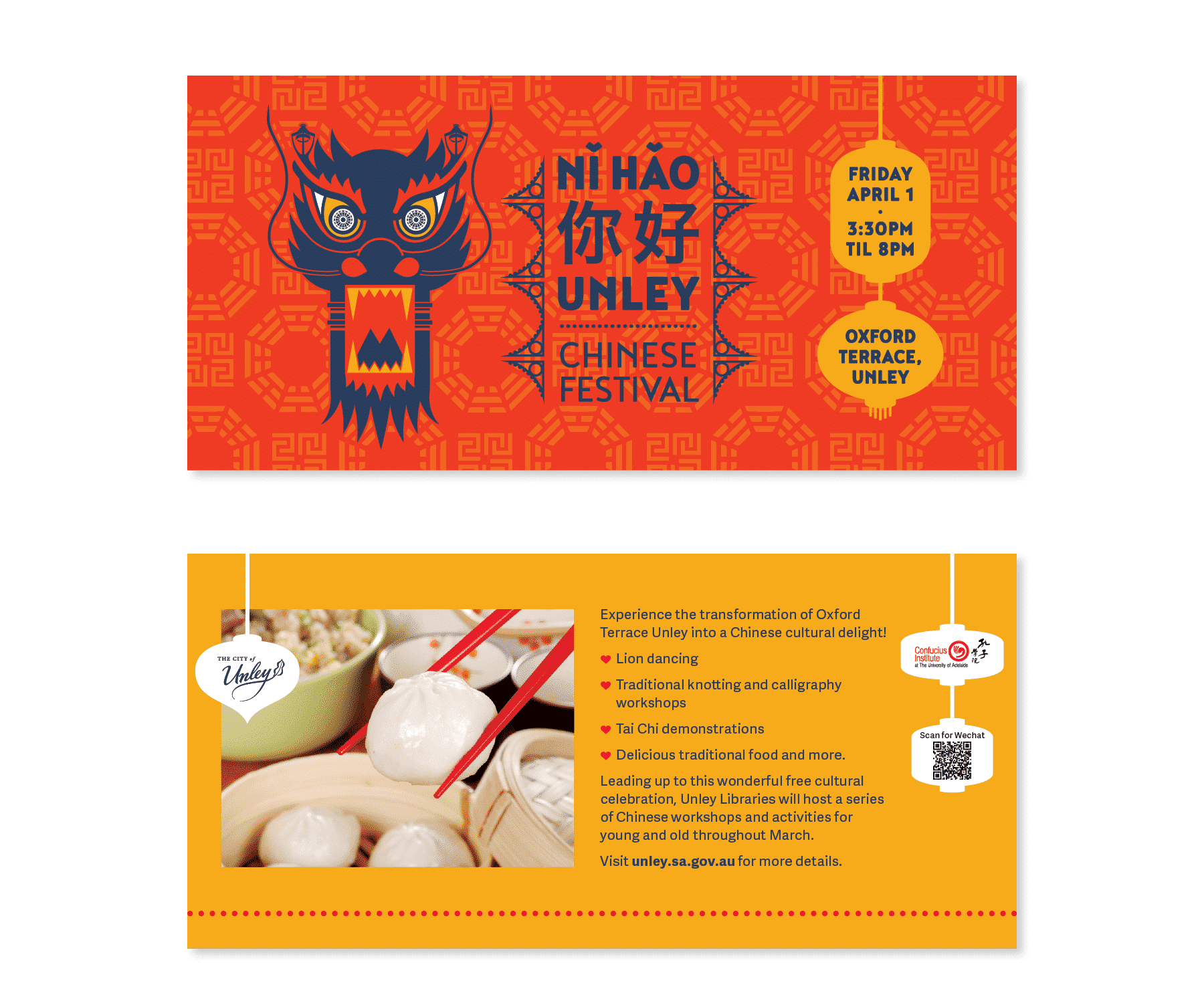 Brochure design for Ni Hao Unley by Flux Visual Communication