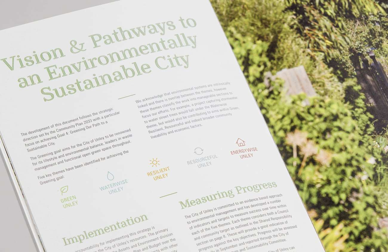 Greening Unley Environmental Strategy designed by Flux Visual Communication