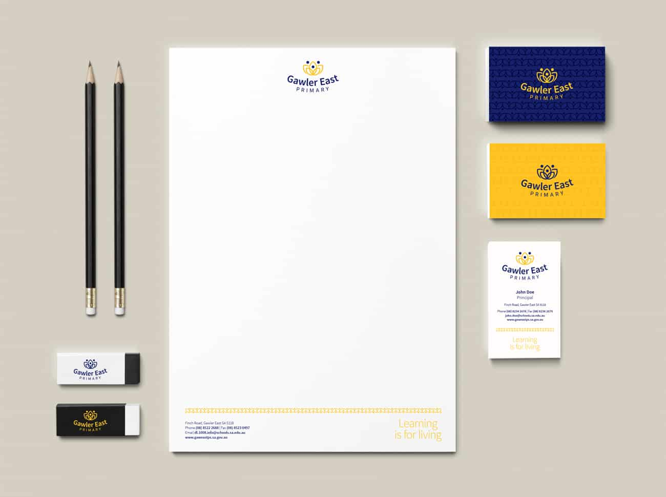 Stationery design for Gawler East Primary School by Flux Visual Communication