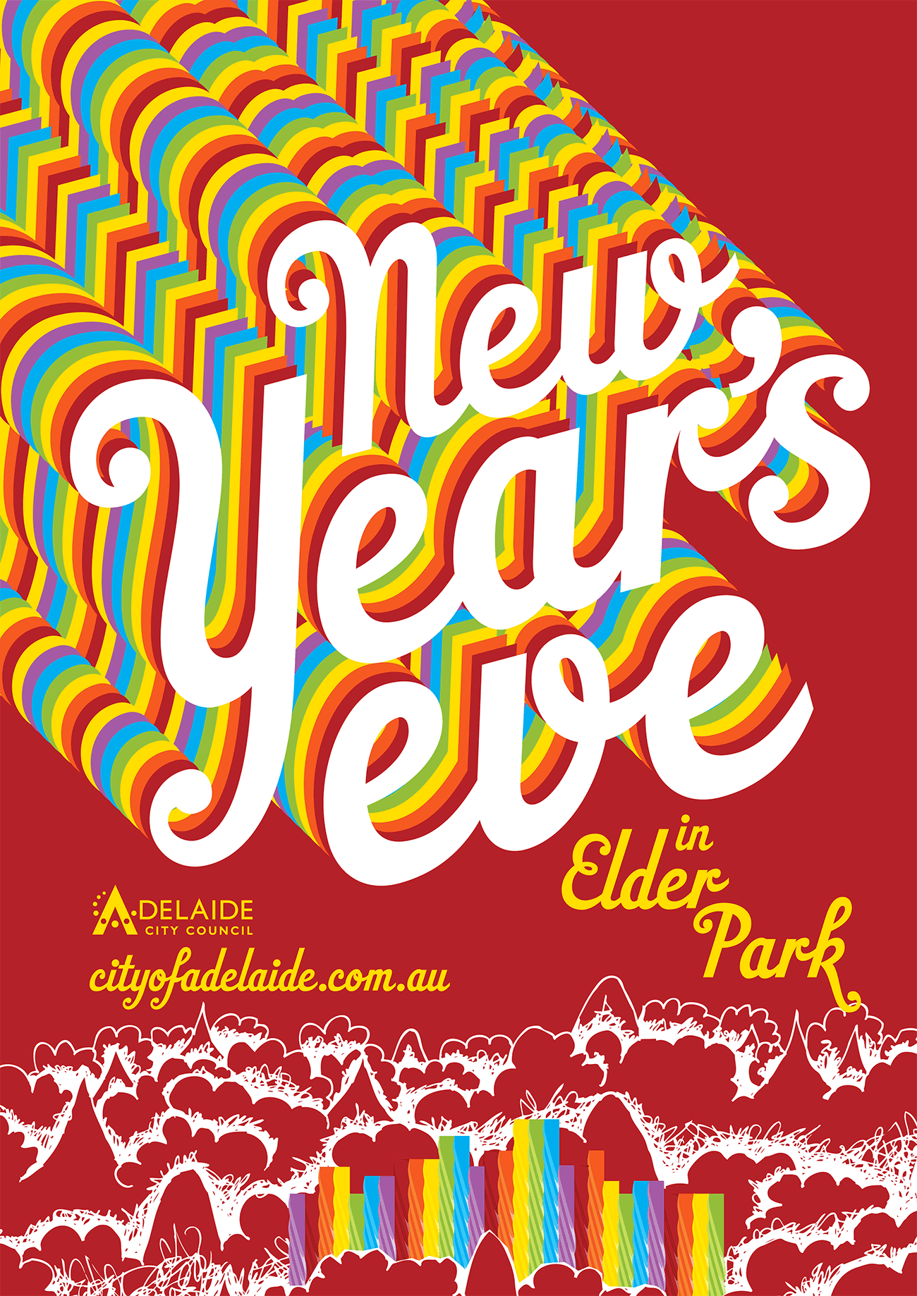New Year's Eve poster design for Adelaide City Council by Flux Visual Communication