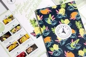 Panama organics organic catalogue design cover and inside spread
