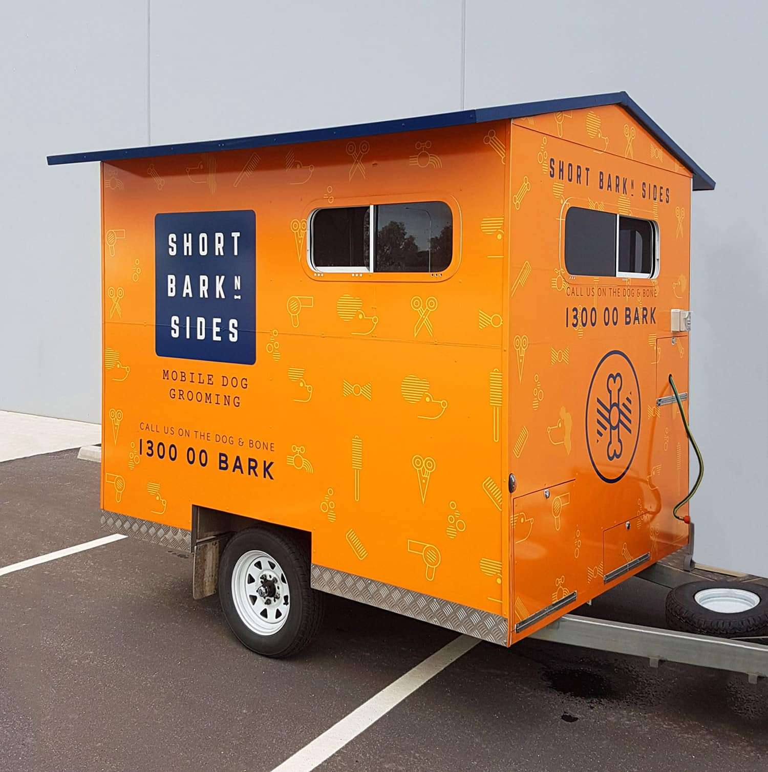 Trailer design for dog grooming business Short Bark N Sides by Flux Visual Communication
