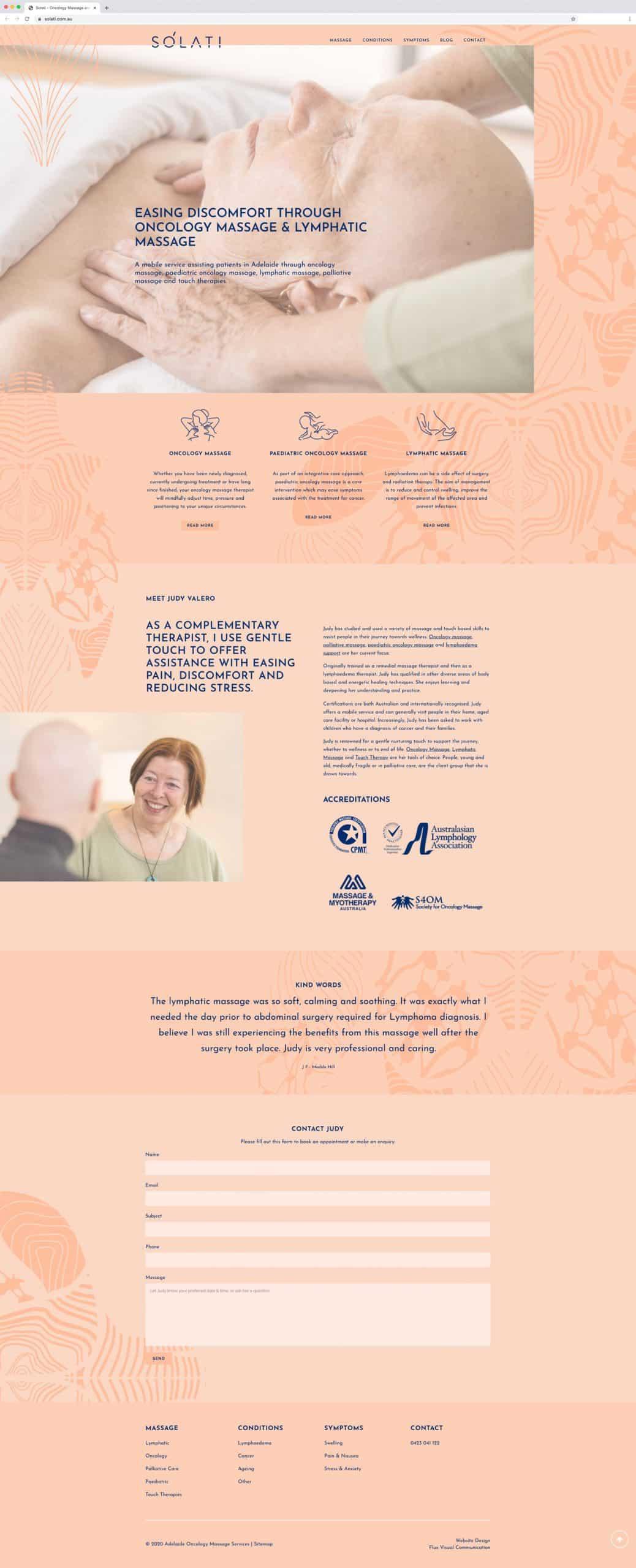 Solati WordPress website homepage design by Flux Visual Communication, Adelaide