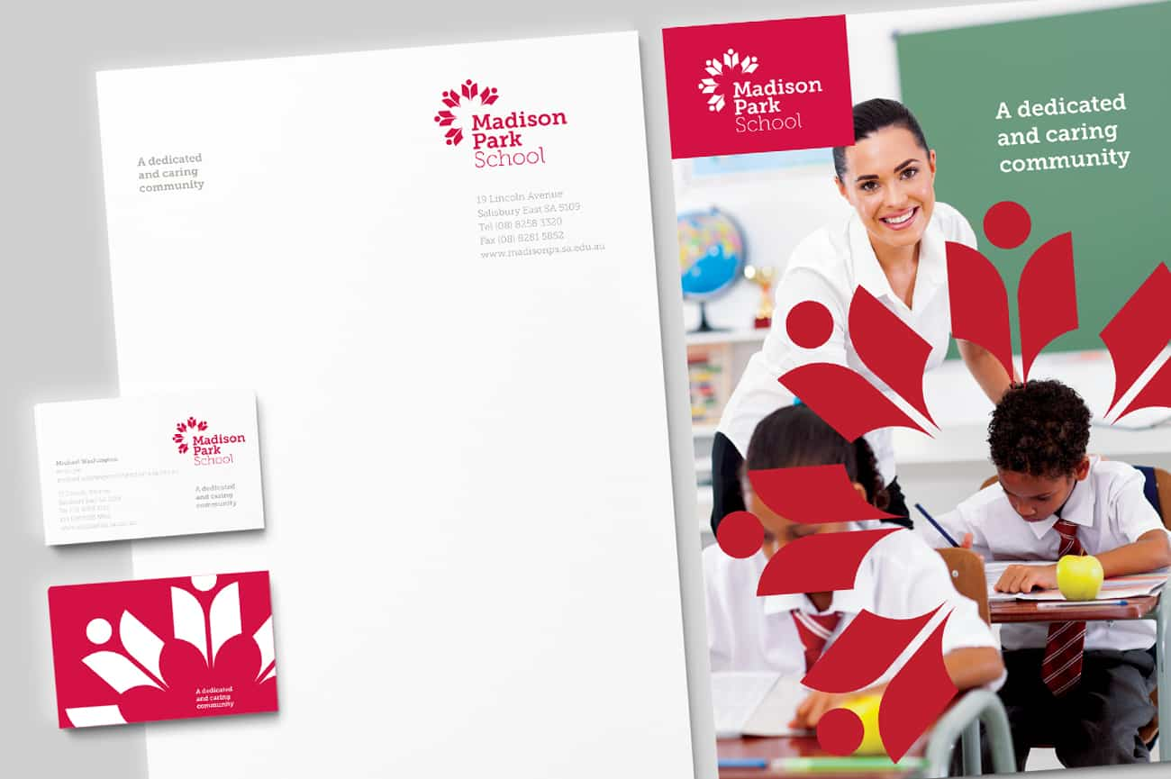 Madison Park School stationery design by Flux Visual Communication, Adelaide