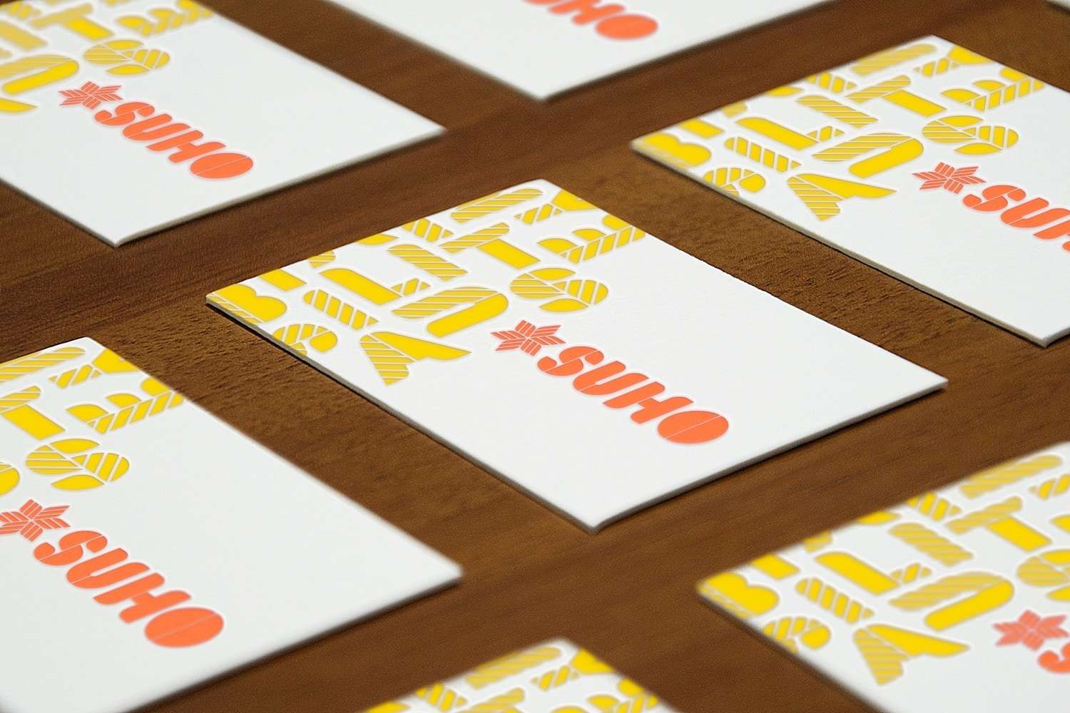 Letterpress business cards for SUHO design consultancy by Flux Visual Communication