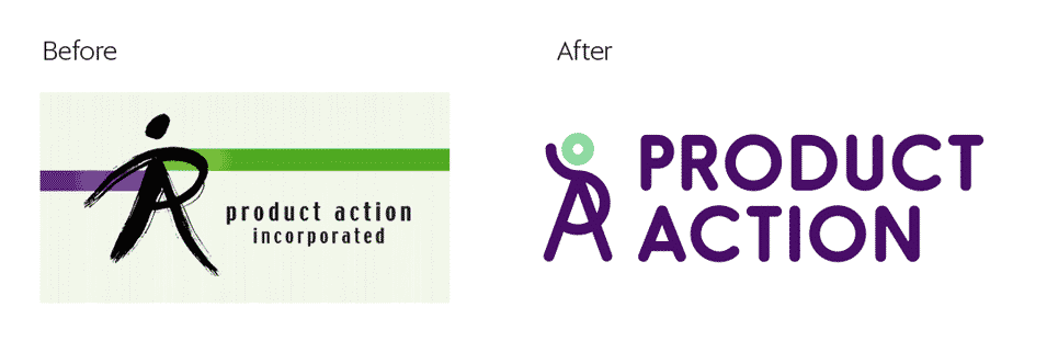 Product Action identity refresh before and after by Flux Visual Communication