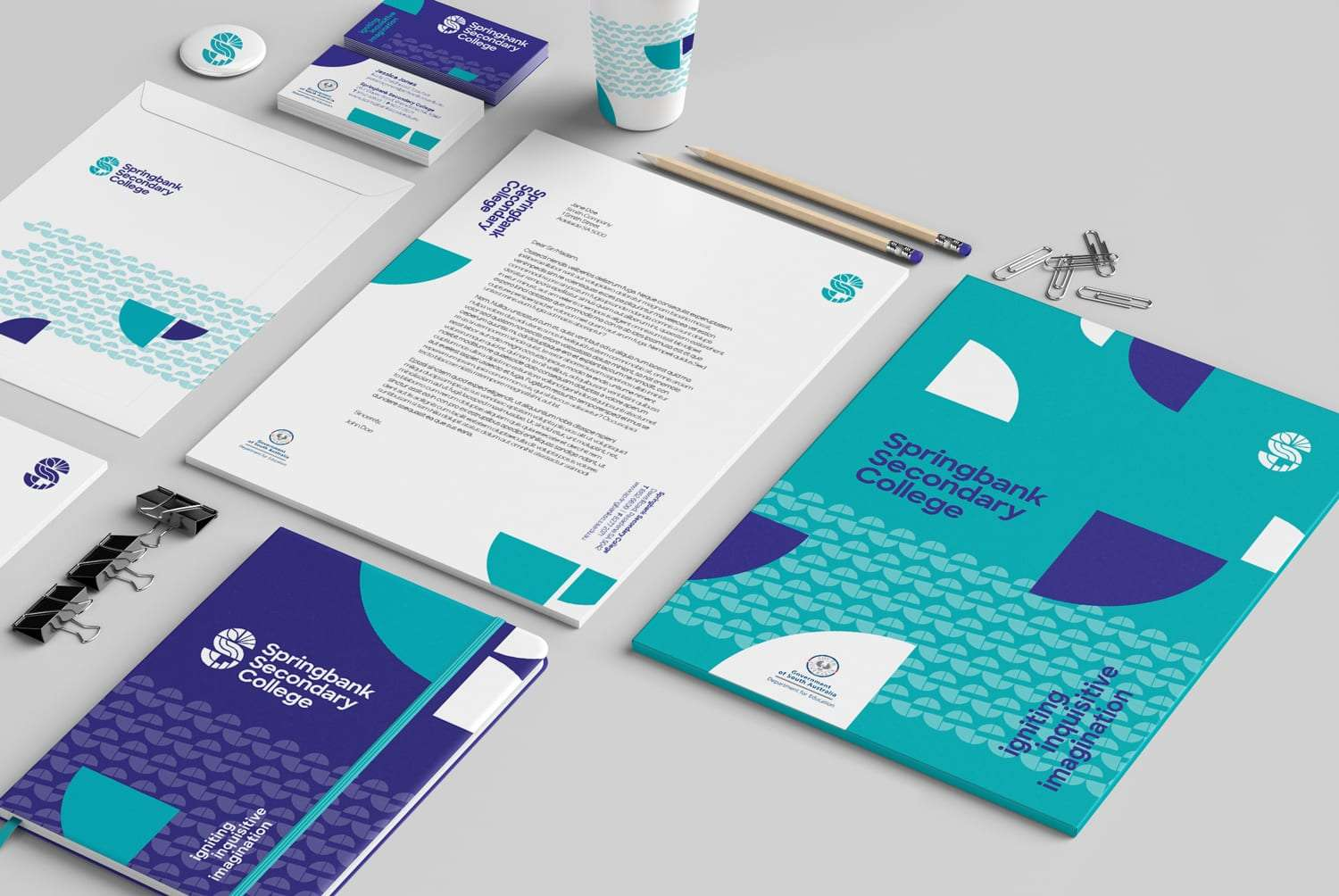 Springbank College school stationery and folder design by Flux Visual Communication
