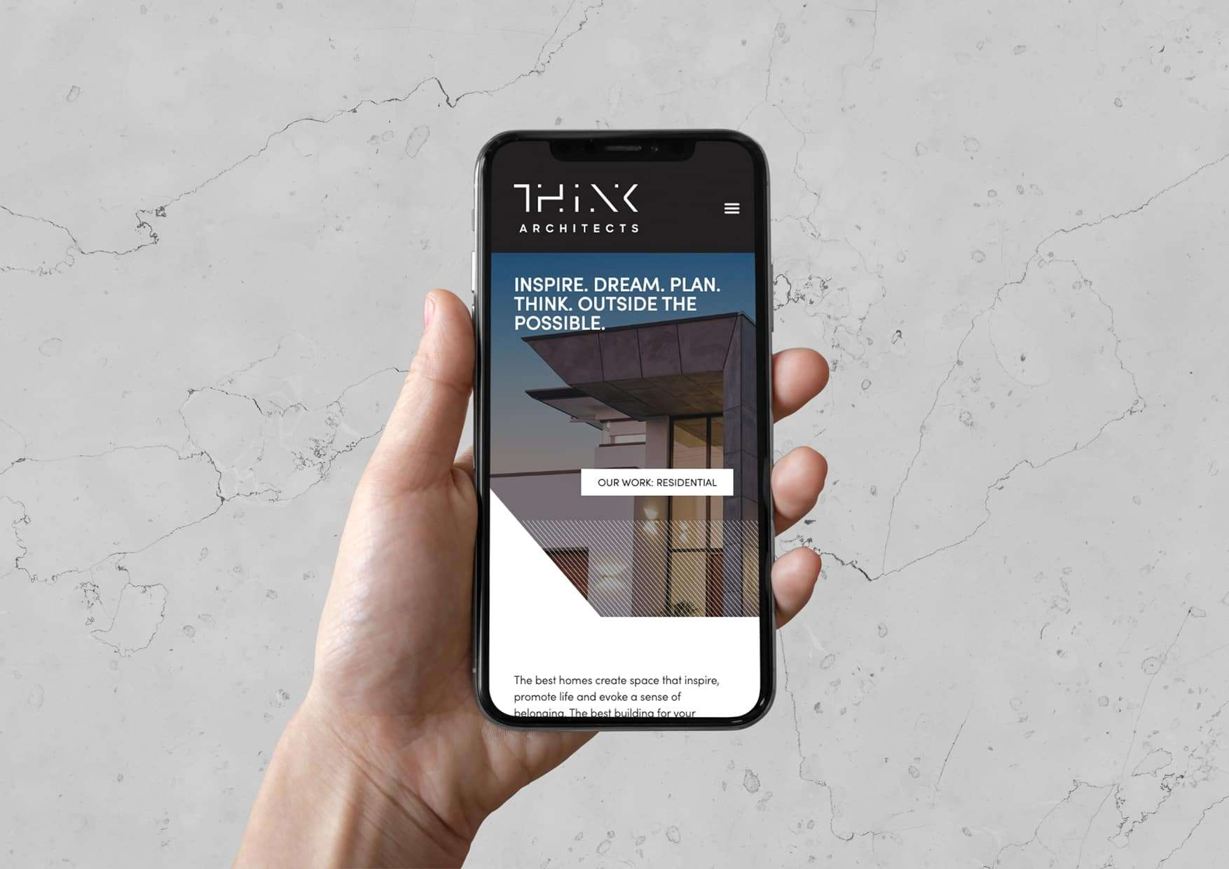 Think Architects responsive website design on mobile phone, by Flux Visual Communication, Adelaide