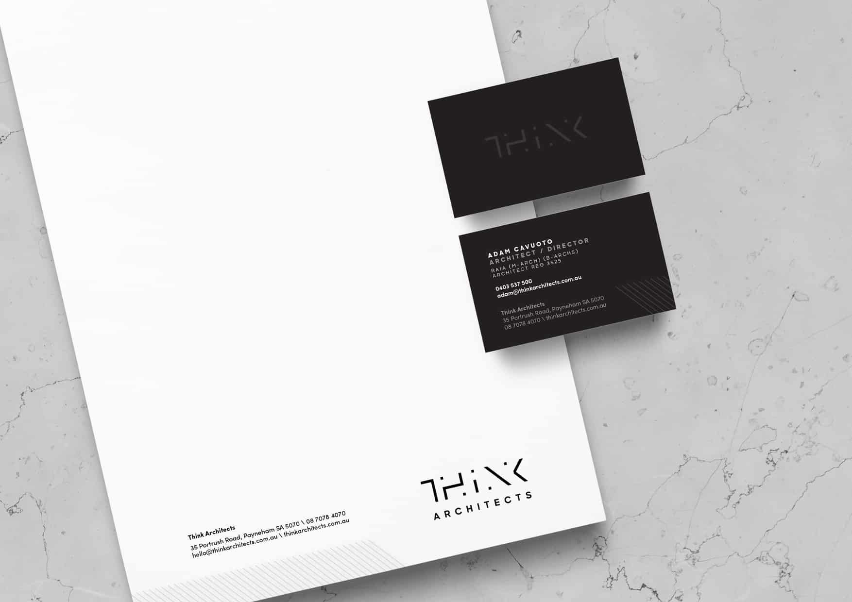 Think Architects corporate stationery by Flux Visual Communication, Adelaide